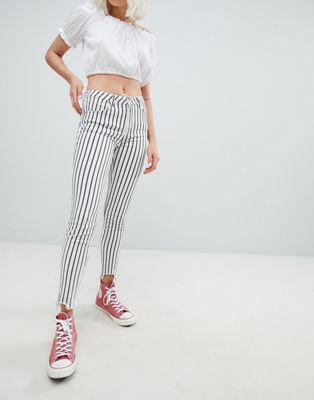 Pull&Bear striped freyed hem skinny jean in stripe