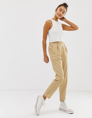 Pull&Bear striped peg leg trousers