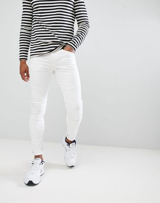 Pull&Bear super skinny jeans in white with biker knee
