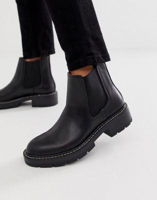 Pull&bear – svarta boots med kontrastsöm