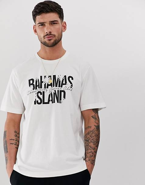 Pull&bear t-shirt with Bahamas island print in stone
