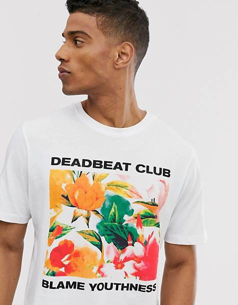 Pull&Bear t-shirt with floral chest print in white