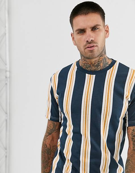 Pull&Bear t-shirt with vertical stripe in navy