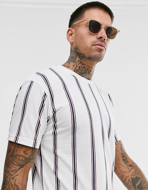 Pull&Bear t-shirt with vertical stripe in white