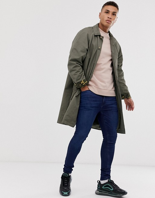 Pull&Bear – Trenchcoat in Grün