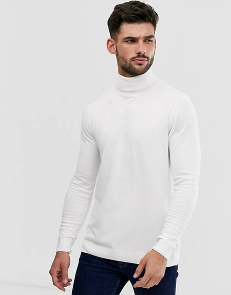 Pull&Bear turtleneck sweater in white