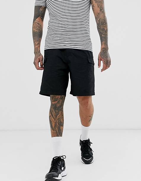 Pull&Bear utility cargo short in black
