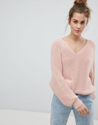 Pull&Bear V Neck Oversized Jumper