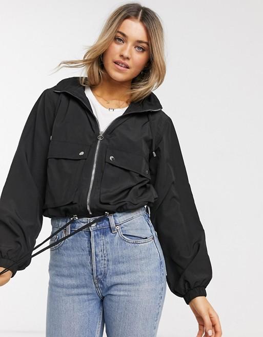 Pull&Bear windbreaker with pockets in black