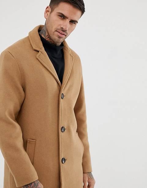 Pull&Bear wool overcoat in tan