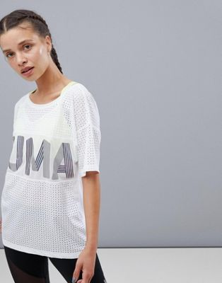 Puma Big Cat Drapey Tee In White With Iridescent Logo