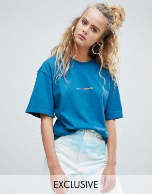 Puma – Blå, exklusiv t-shirt i ekologisk bomull