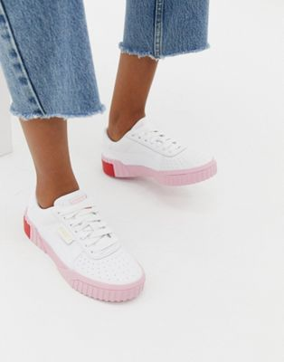 Image 1 of Puma Cali white and pink sneakers