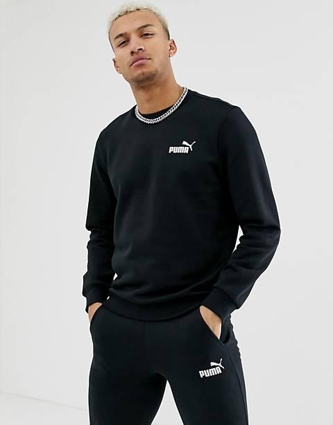 Puma – Essentials – Schwarzes Sweatshirt mit kleinem Logo