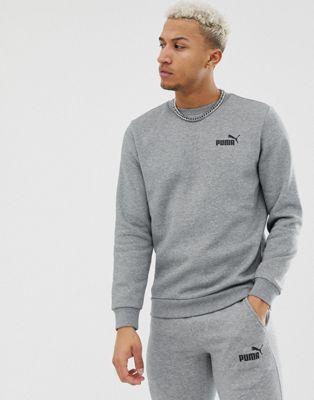 Puma Essentials sweat with small logo in grey