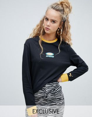 Puma exclusive organic cotton black logo long sleeve tee