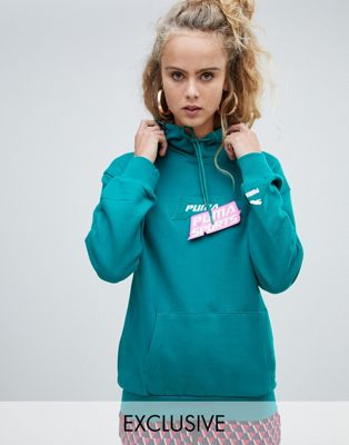 Puma exclusive organic cotton green velcro badge hoodie