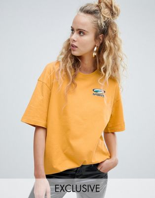 Puma exclusive organic cotton mustard boxy tee