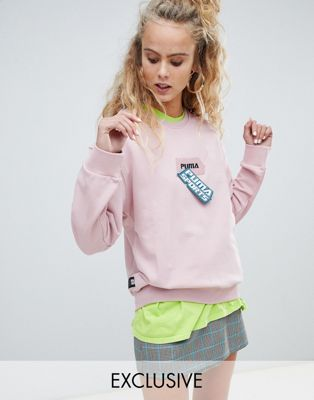Puma exclusive organic cotton pink velcro badge sweatshirt