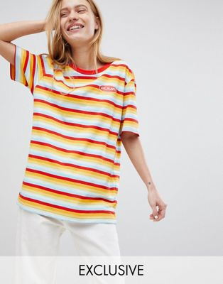 Puma Exclusive Oversized Organic Cotton Rainbow Stripes T-Shirt