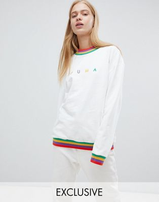 Puma Exclusive Oversized Organic Cotton Rainbow Sweatshirt In White