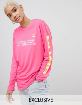 Puma Exclusive To ASOS Long Sleeve T-Shirt With Techno Logo In Neon Pink