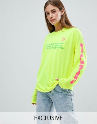 Puma Exclusive To ASOS Long Sleeve T-Shirt With Techno Logo In Neon Yellow