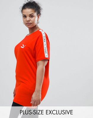 Puma Exclusive To ASOS Plus T-Shirt With Taped Side Stripe In Red
