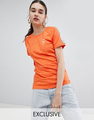 Puma Exclusive To ASOS T-Shirt With Taped Side Stripe In Orange