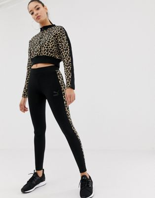 Puma – Leggings mit Seitenstreifen und Gepardenprint, T7