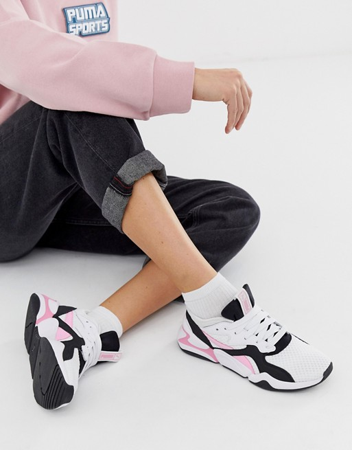 Image 1 of Puma Nova 90'S block white and pink sneakers