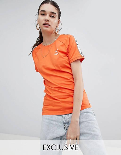 Puma - Oranje T-shirt met bies langs de mouw, exclusief bij ASOS