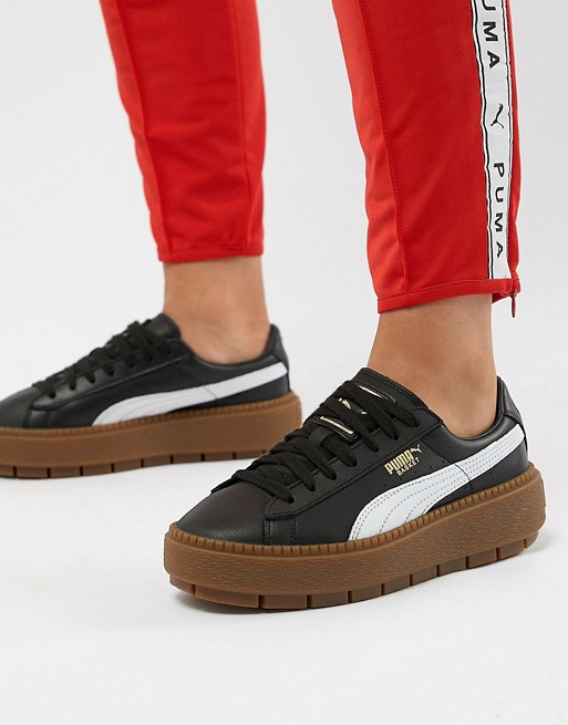 c9c805e18ef Image 1 of Puma Platform Trace Trainers In Black With Gum Sole