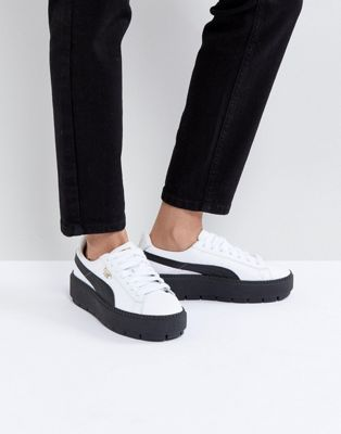 Puma Platform Trace Trainers In White Black With Gum Sole