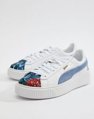 Puma Suede Platforms In White With Embrodiery