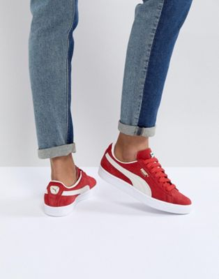 Image 1 of Puma Suede Trainers In Red