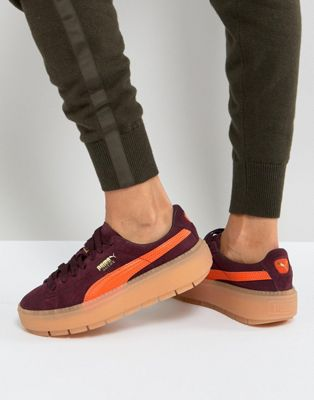 Puma Trace Platform Trainers In Burgundy And Orange