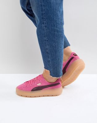 Puma Trace Platform Trainers In Pink And Black
