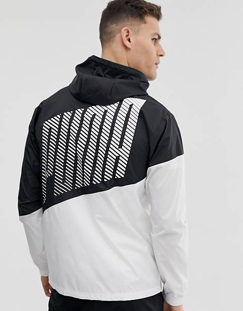 Puma training color block windbreaker jacket in black
