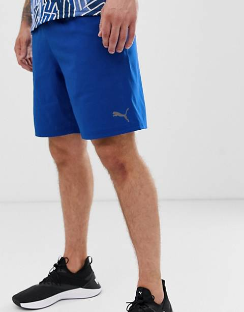 Puma training logo woven 9 inch shorts in blue