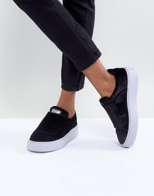 Image 1 of Puma Velour Strap Platform Sneakers In Black
