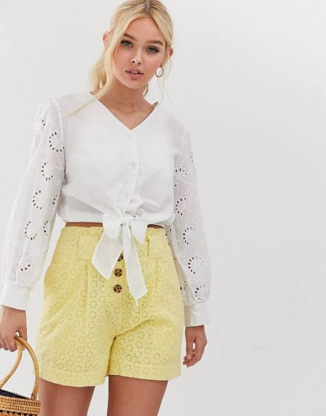 QED London broderie anglais tie front blouse in white