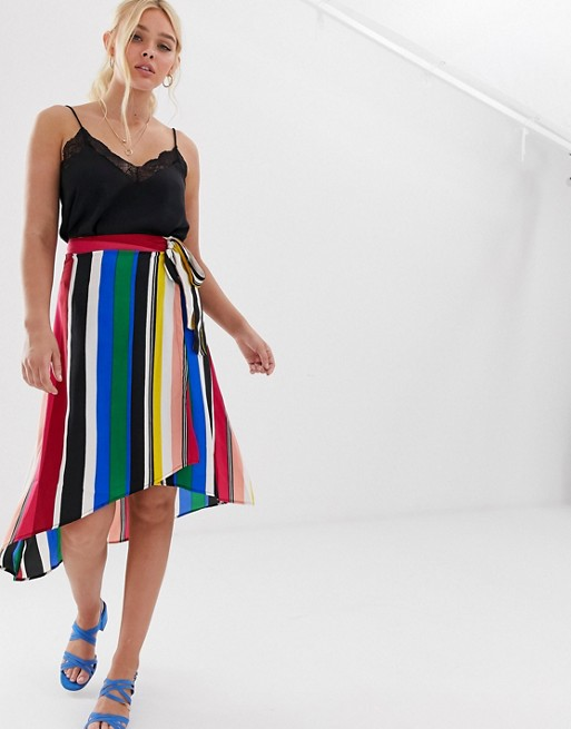Image 1 of QED London button through midi skirt in rainbow stripe
