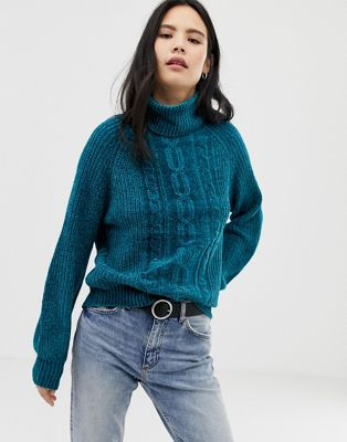 QED London chenille chunky cable balloon sleeve jumper