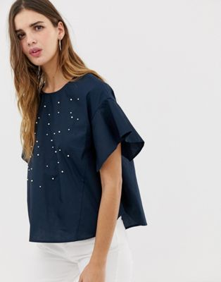 QED London embellished blouse with frill sleeve