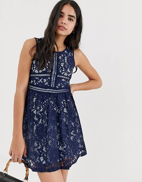 QED London lace skater mini dress in navy