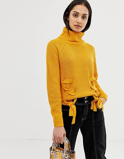 QED London lattice front high neck sweater