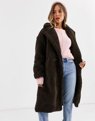 QED London - Manteau oversize en imitation peau de mouton