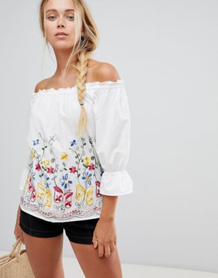 Image 1 of QED London Off Shoulder Embroidered Top