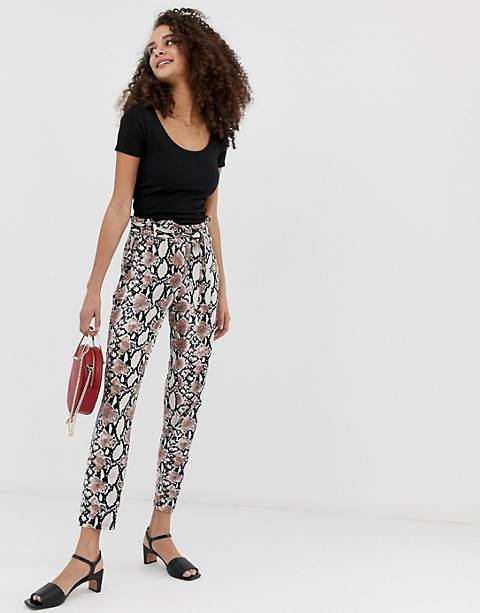 QED London paperbag waist peg pants in snake print